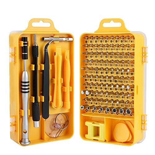 TREKOO Präzision Schraubendreher Set 110 in 1 Magnetisches Fein Schraubendreher Set, mit 90 Bits und Tragekoffer tragbarem, S2 Legierter Stahl Werkzeugset, [Energieklasse A+++]-Gelb MEHRWEG