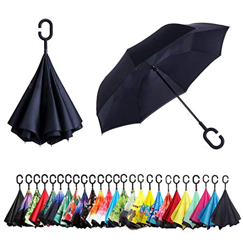 Sumeber Paraguas invertido de doble capa con mango en forma de C, paraguas plegable y resistente al viento, con bolsa de transporte