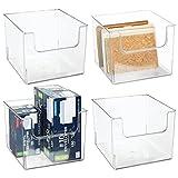 mDesign Juego de 4 cajas organizadoras – Práctico organizador de escritorio, salón, baño y mucho más – Caja de plástico con frontal más bajo para que el contenido esté más accesible – transparente