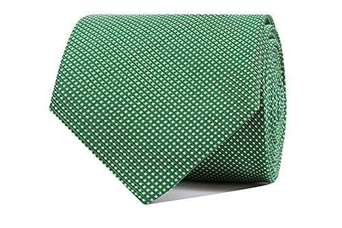 Sologemelos - Cravate Petits Points - Vert 100% soie naturelle - Hommes - Taille Unique - Confection artesanale Made In Italy