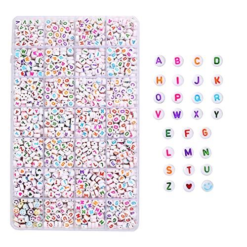 F Fityle 1400 Piezas de Abalorios con Letras a-Z, Juego de Abalorios ordenados del Alfabeto de 7x4 mm, Abalorios con Letras vocales para Hacer Joyas,
