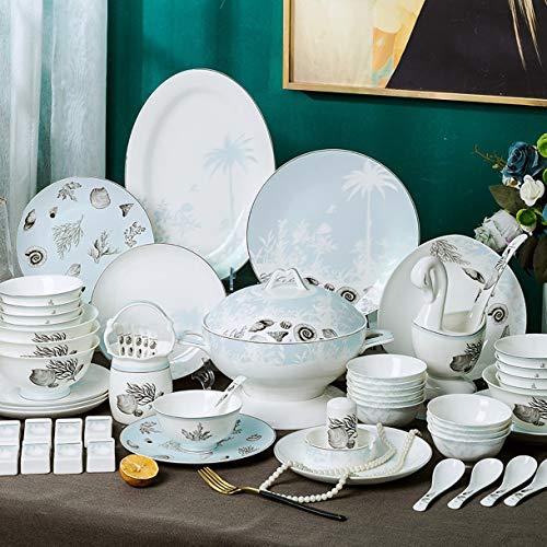 MMFXUE Servicio de combinación de Porcelana 62 Piezas | Servicio de vajilla para 10 Personas | Servicio de Desayuno, vajilla de Porcelana, vajilla, vajilla