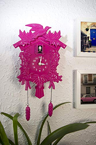 Walplus 20x37 cm Kuckucksuhr Wand Wohndeko DIY Wohnzimmer Schlafzimmer Büro Dekor Plastik Kinderzimmer Geschenk, Pink