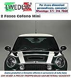 LWEDLW 2 Fasce Adesive per Cofano Adesivi per Mini Cooper Bonnet Bande Tuning Decal Stickers (Bianco)