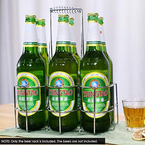 Flaschenträger, Flaschenkorb, flaschenträger metall,flaschenkörbe für 6 flaschen, 25.5 x 17.2 cm, Höhe 32 cm flaschenbehälter, Verchromtes Metall Transportkorb Flaschenhalter mit haltegriff