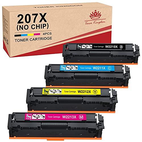 Toner Kingdom 207X Cartuchos de tóner Compatible para HP 207X 207A W2210X W2211X W2212X W2213X W2210A W2211A W2212A W2213A para HP Color Laserjet Pro MFP M283fdw M283fdn M255dw M255nw M282nw(Sin Chip)
