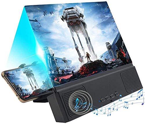 Vuffuw Bildschirm für Bildschirmlupe, 12-Zoll-3D Tragbarer Filmverstärker mit Lautsprecher, Projektor, Handy-Bildschirmvergrößerer mit klappbarem Ständer für Alle Smartphones