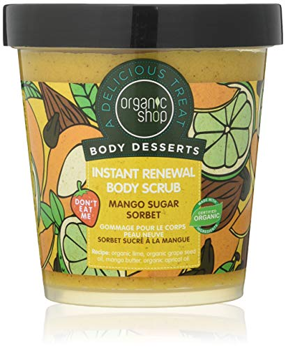 Organic Shop Body Desserts Mango Sugar Sorbet Instant Renewal Body Scrub, 450 ml