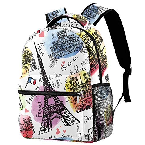 Rucksack Vintage Paris Eiffelturm Postkarte Schultasche Rucksack Reise Casual Daypack für Frauen Teenager Mädchen Jungen
