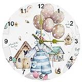 Happy Easter Spring Set Reloj de pared, de 10 pulgadas, silencioso, no se hace tictac, funciona con pilas, relojes de pared redondos para el hogar/oficina/reloj escolar