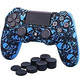 YoRHa Transferencia de agua camuflaje de impresión silicona caso piel Fundas protectores cubierta para Sony PS4/slim/Pro Dualshock 4 Mando x 1 (Pirata Simbolo Azul) Con los puños pulgar thumb gripsx 8