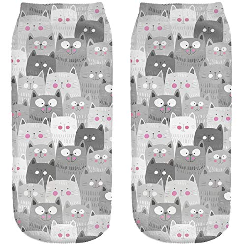 Lustige Socken Sneaker Halbsocken Strümpfe Sportsocken Füßlinge mit Motiv 3D Weihnachten Ferien Seasons Ombre Cats [001]