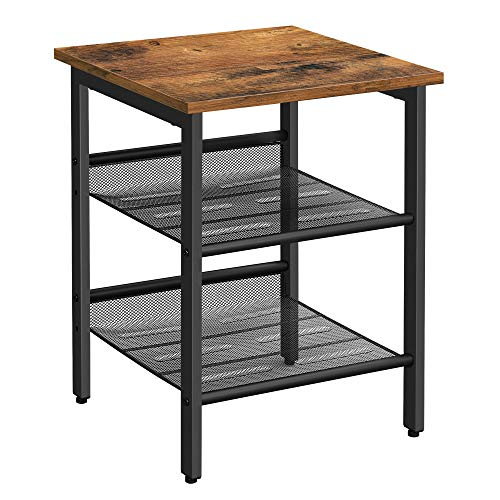 VASAGLE End Table, Nightstand with 2 Adjustable Mesh Shelves, Industrial Side Table for Living Room, Stable Metal Frame, Easy Assembly, Rustic Brown...