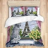 KASMILN Bedding Bettwäsche,Eiffelturmporträthaustierhundehundedruckgrafik-Malereiaquarell des Pudels Paris,Mikrofaser Bettbezug 240x260cm,Kissenbezügen 2(50x80cm)