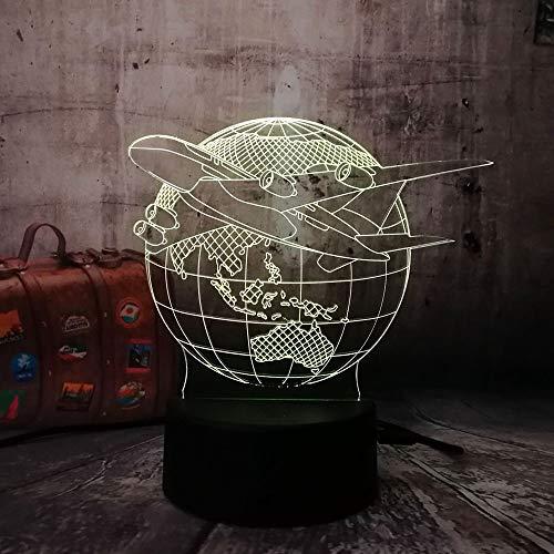 3D Lumière De Nuit Terre D'Avion 16 Couleurs Changeantes Puissance Usb Contact Switch Lampe Art Table Chevet Décor Illusion Led Lampe De Table Anniversaire Noël Cadeau Enfants Jouets