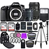Canon EOS 80D 24.2MP CMOS Full HD Wi-Fi Enabled Digital SLR Camera with Canon EF-S 18-55mm is STM Lens + Tamron 70-300mm f/4-5.6 AF Lens + Accessory Bundle (Renewed)