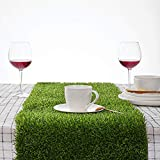 Synthetic Grass Table Runner 14 x 72 inch, Perfect for Spring Fall Summer Holiday, Baby Shower, Wedding, Birthday, Banquet, Thanksgiving, Christmas, Gathering, Home Decorations, Outdoor/Indoor Parties