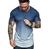 JELLYB T-Shirt Homme Été Coupe Régulière Moderne Homme Sweat-Shirt Dégradé Couleurs Manches Courtes Course Shirt Basique Col Rond Fonctionnelle Shirt Séchage Rapide Musculation Shirt B-Blue 3XL