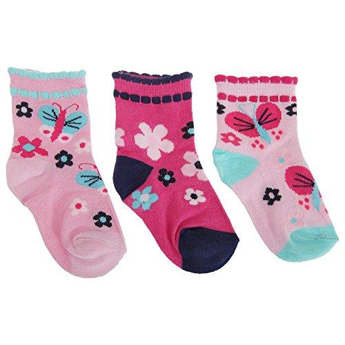 Baby Mädchen Socken Schmetterling (3er Packung) (15-18 EU) (Schmetterling/Blumen)