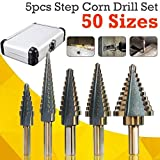 without brand FMN-Home, 5pcs / Set HSS Cobalto MÚLTIPLE Hole 50 tamaños de Paso Broca Set con la Caja de Aluminio for Woodwroking