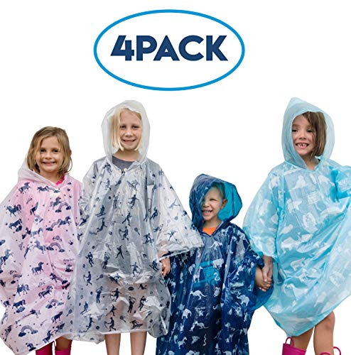 Disposable Rain Ponchos for Kids: Emergency Rain Poncho - 4 Pack of Youth Size Hooded Ponchos for Boys and Girls - Lightweight, Packable Rain Gear for Travel and More- Fun Colors, Designs