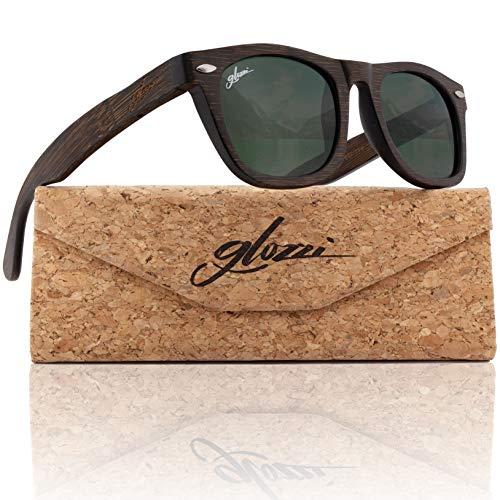 glozzi Bambus Holz Sonnenbrille für Damen & Herren - Polarisierte & Verspiegelte Brillengläser UV 400 Kategorie 3 - Mit Brillenetui aus Kork - Braun