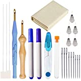 23Pcs Punch Needle Embroidery Kit, Adjustable Rug Yarn Punch Needle, Embroidery Pen, Needle Threader, Punch Needle Cloth for Embroidery Floss Cross Stitching Beginners and Lovers