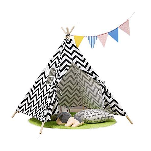 HB.YE Tipi - Tienda de campaña para niños con manta gruesa, banderas de colores y colgante de nube (onda negra)