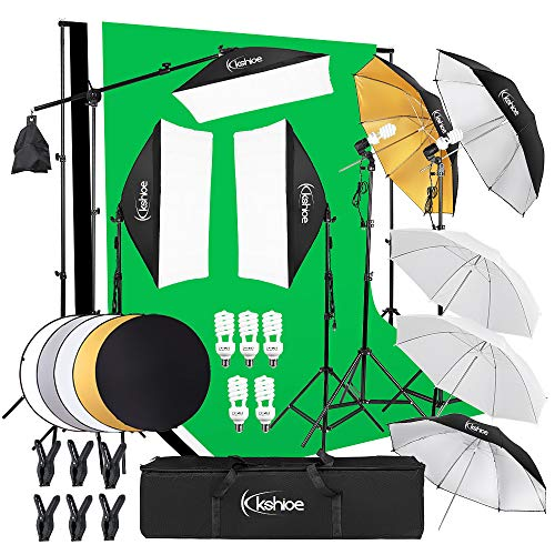 Kshioe Photography Lighting Kit:6.5x10feet/2x3m Backdrops Stand Support System, 5 in 1 reflectors, 1600w 5500k Umbrellas Softbox Continuous Lighting Kit for Portrait, Product and Video Shooting