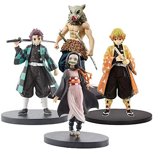 ZHIPENG Decoración de Escritorio Demon Slayer: Kimetsu No Yaiba, Kamado Tanjirou/Kamado Nezuko/Agatsuma Zenitsu/Hashibira Inosuke/Hecho a Mano Modelo Figura (Color : A)
