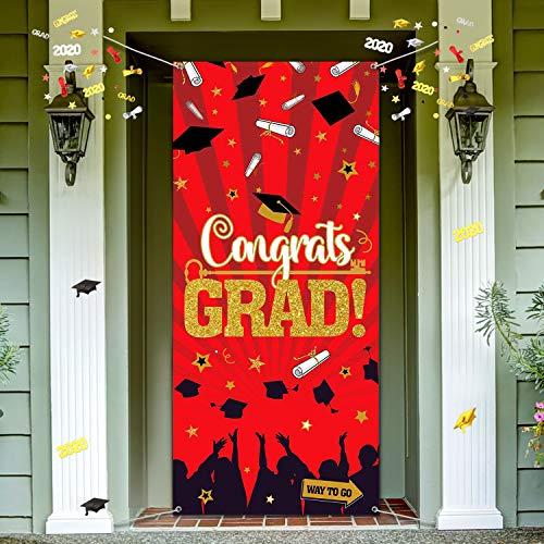2020 Abschluss Party Dekoration, Große Stoff Glückwunsch Abschluss Zeichen Türabdeckung Abschluss Party Banner Foto Stand Hintergrund für 2020 Grad Indoor/Outdoor Party Lieferung Rot und Gold