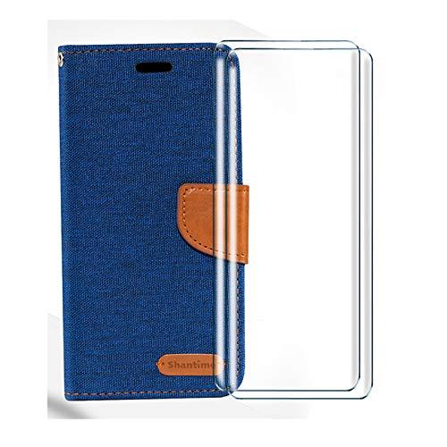 HYMY Denim Custodia per ZTE Blade A5 2019 + 2 PCS Vetro Temperato Vetro Pellicola Glass - PU + TPU Silicone Protettiva in Pelle PU Bookstyle Flip Case Cover Shell-Blue