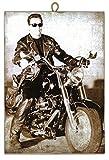 KUSTOM ART Cuadro de Estilo Vintage Arnold Schwarzenegger Sobre Harley Davidson de Colección Impresión Sobre Madera de – Idea Regalo