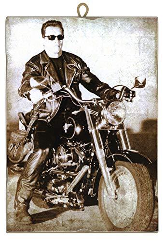 KUSTOM ART Quadro Quadretto Stile Vintage Arnold Schwarzenegger su Harley Davidson da Collezione Stampa Laser su Legno Alta qualità Made in Italy - Idea Regalo