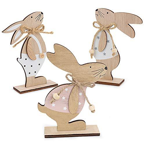 Venga amigos Pasquale in Legno Decorazione del Coniglio,3 Pezzi Pasqua Legno Ciondolo per Decorazione a Pasqua Legno Decorazioni per la casa(16 * 11cm)