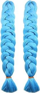 MSBELLE 2Pcs 82Inch Synthetic Braiding Hair Extensions Ombre Kanekalon Fiber Crochet Twist Braids Hair Jumbo Braids Hair Extension for Women 165g/Pcs(Sky Blue)