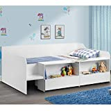 Happy Beds Cabin Bed Low Sleeper White Storage Frame Bedroom Kids Comfort 3' Single 90 x 190 cm