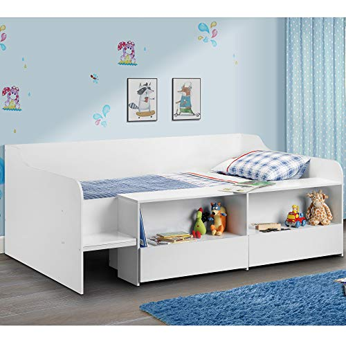 Happy Beds Cabin Bed Low Sleeper White Storage Frame Bedroom Kids Comfort 3' Single 90 x 190 cm
