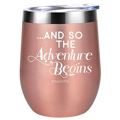 Funny Graduation, Back to School, New Job, Farewell, Divorce, Congratulations, College, PHD Gifts for Women, Friend, Coworker, Teacher, Girls, Her - And So The Adventure Begins - Coolife Wine Tumbler