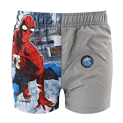 Characters Cartoons Spiderman Marvel Avengers – Badehose für Kinder, Boxershorts, Slip, Meer, Pool, Frühling, Sommer, offizielles Lizenzprodukt, Surf-Shorts, Grau 4 Jahre