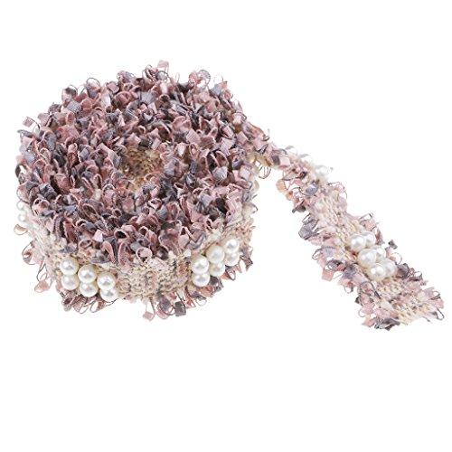 B Blesiya 1 Yarda Precioso Encaje para Coser Decorativo Encaje de Costura Accesorios y Manualidades - Rosa Gris