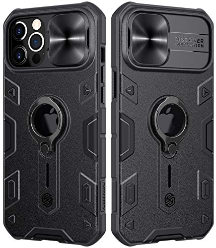 "Ezanmull Compatible with iPhone 12 Pro Max Case with Stand Kickstand Ring and Camera Cover, Armor Shockproof Military Hard PC & TPU Bumper Hybrid Protective Cover for iPhone 12 Pro Max 6.7"" (Black)"