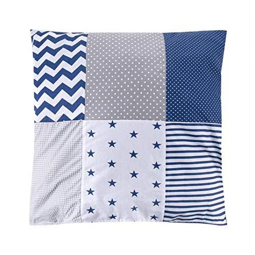 Funda de cojín (60 x 60 cm), diseño de patchwork, color gris, azul y blanco con estrellas