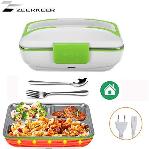 Caja de almuerzo eléctrica calentada Pre para la oficina y la escuela Tazón de calentamiento rápido Caja de comida de acero inoxidable 1.5L con tenedor de cuchara y tres compartimentos (220V para el hogar)