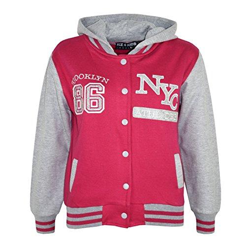 A2Z 4Kids® Unisexe enfants filles garçons Baseball NY Athlatic à capuche pour homme Varsity Sweat à capuche Nouvel Âge 78910111213ans. - Rose - 11-12 ans