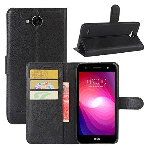 HualuBro LG X Power 2 HandyHülle, Leder Brieftasche Etui Lederhülle Tasche Schutzhülle Hülle [Standfunktion] Handytasche Flip Case Cover für LG XPower 2, LG X Power II (Schwarz)