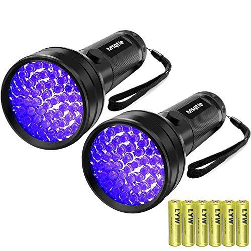 UV BlackLight Flashlight 2 Pack UV Flashlight Black Light 51 LED 395 nm Wavelength Ultraviolet Flashlights Detector for Dry Pets Urine Bed Bug Scorpion UV Black Light Flashlight Batteries Included