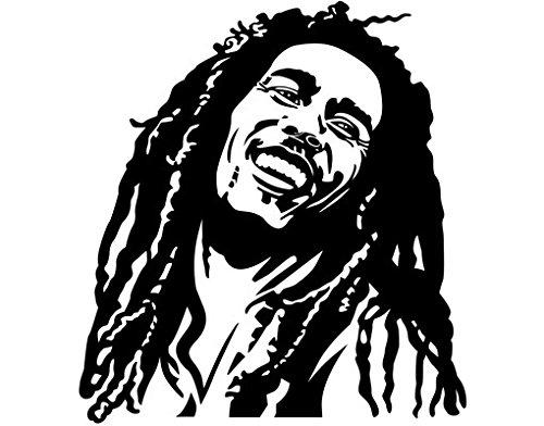 mantiburi Wandbild Aufkleber No. 1215Bob Marley, Farbe: Schwarz; Maße: 33cm x 30cm