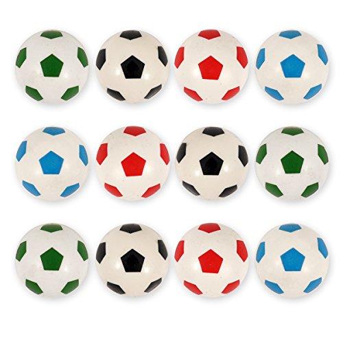 12X Fussball Flummis / für Kinder-Geburtstag Jungen und Mädchen / Mitgebsel / Kindergeburtstag Gastgeschenke / Gummiball / Springball / Fußball Party Flummi Set