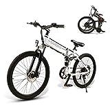 SAMEBIKE Bicicletas eléctricas con neumáticos de 26 Pulgadas Bicicletas eléctricas de montaña Plegables 48V 500W para Adultos (Blanco)